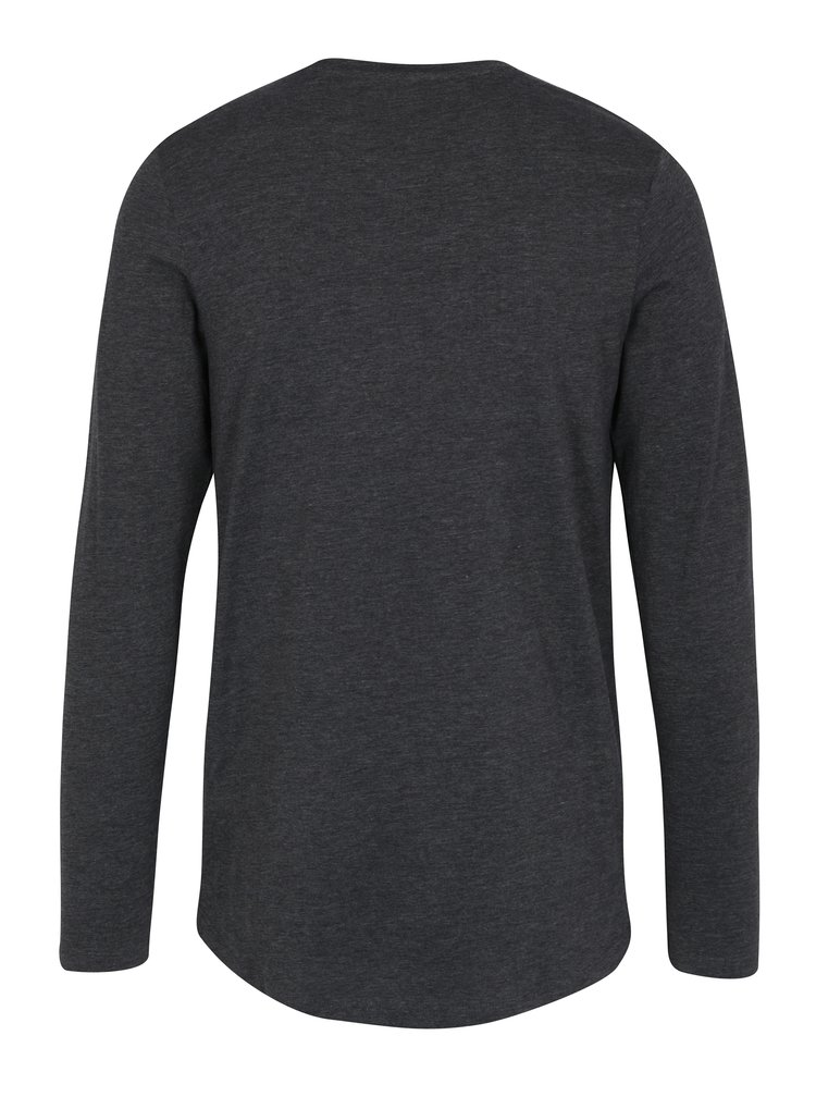Tmavě šedé tričko s dlouhým rukávem Jack & Jones Core Mesut Tee