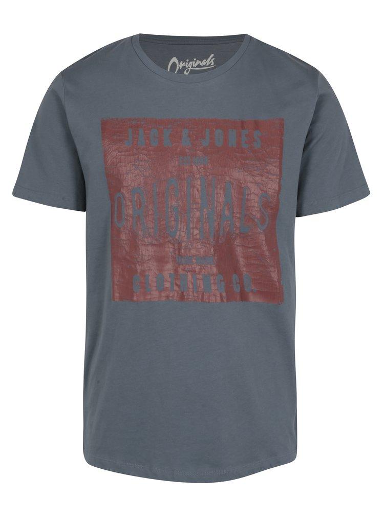 Tricou albastru&caramiziu cu print text  Jack & Jones Originals Stood Tee