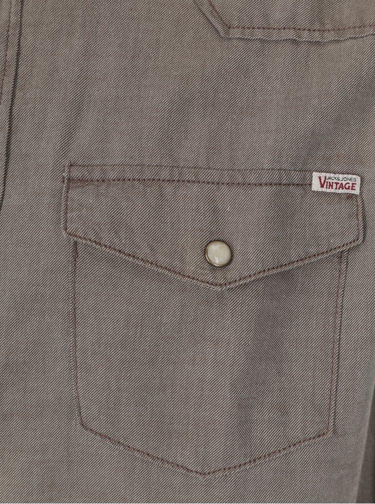 Khaki košile s dlouhým rukávem Jack & Jones Vintage Galway