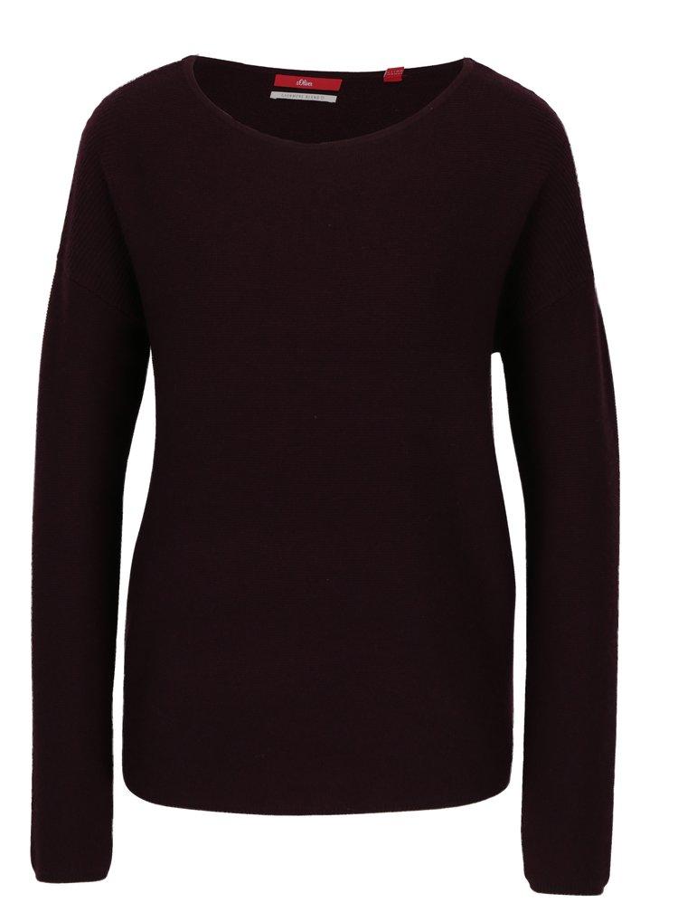 Vínový dámský vlněný svetr s příměsí kašmíru s.Oliver