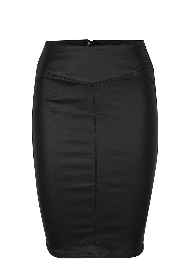 Černá koženková pouzdrová sukně VERO MODA Supreme