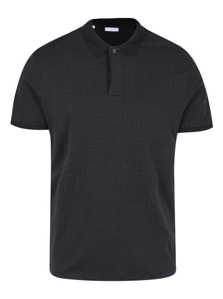 Černé polo tričko s jemným vzorem Selected Homme Delan