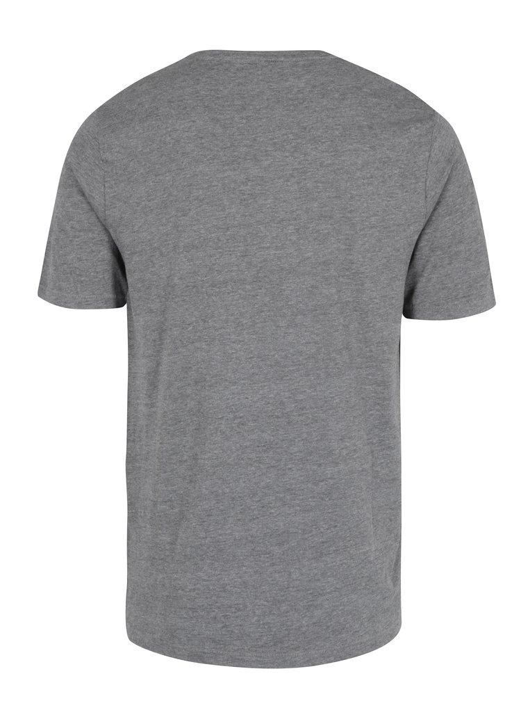 Šedé žíhané tričko s potiskem ONLY & SONS Maceo