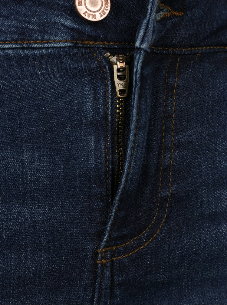 Tmavě modré super slim fit zkrácené džíny s potrhaným efektem Noisy May Lucy