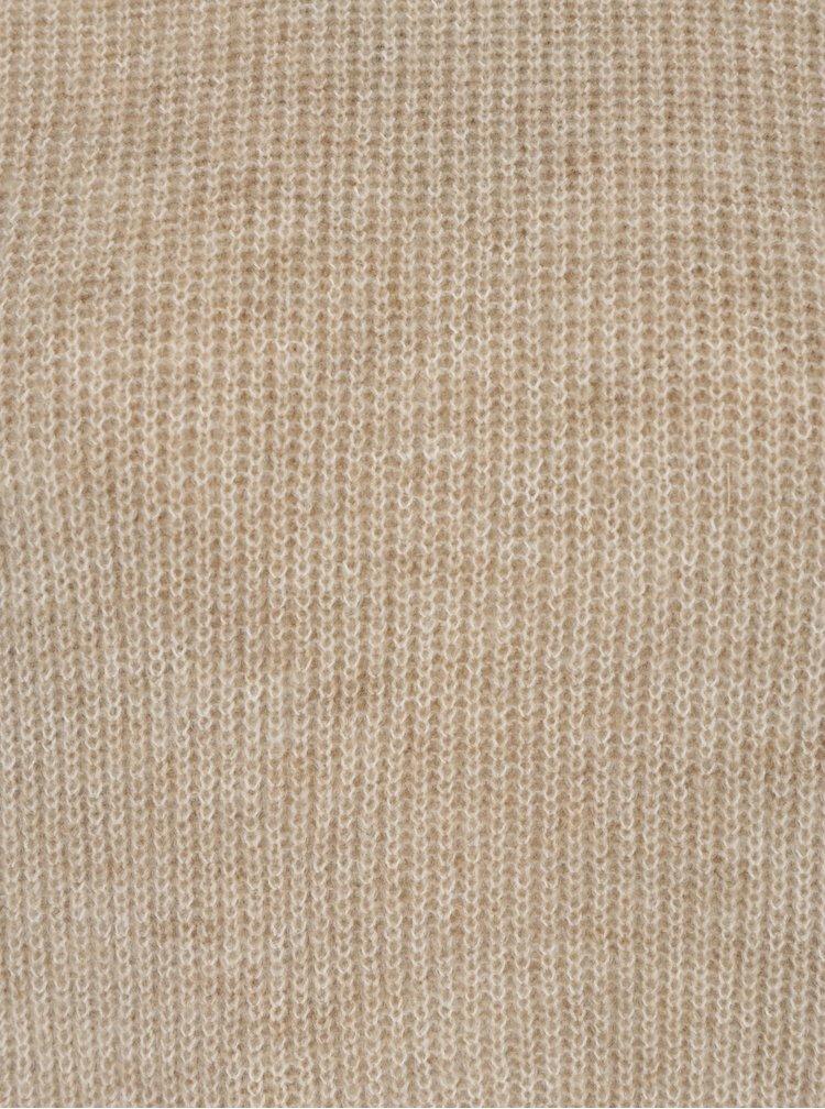 Béžový žíhaný svetr s překládanými zády VILA Samira