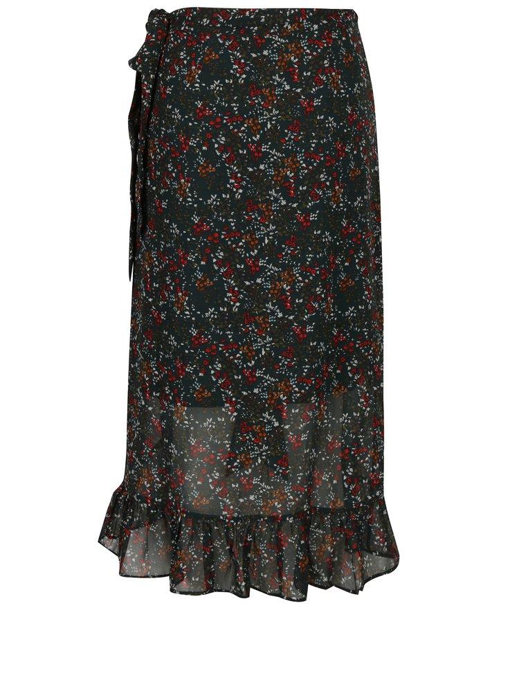 Zelená květovaná zavinovací midi sukně s volány VERO MODA Camille