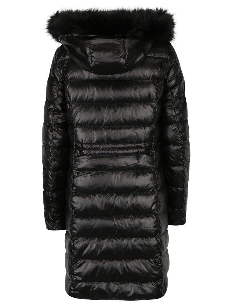 Černý prošívaný péřový zimní kabát s umělým kožíškem VERO MODA Onella