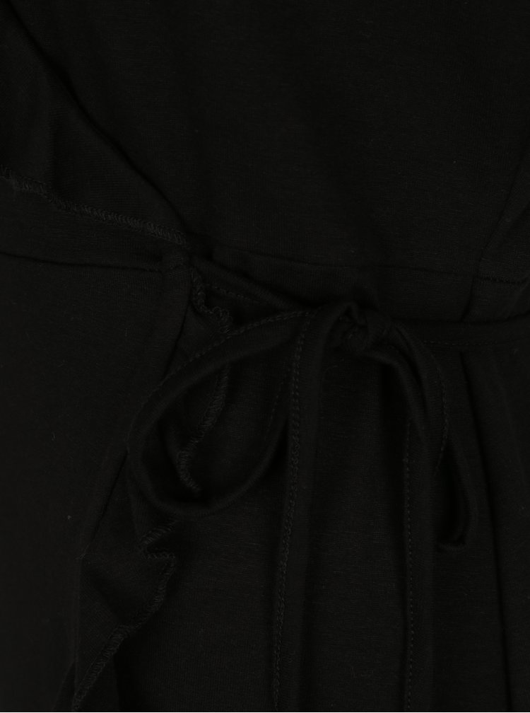 Černé zavinovací šaty s volány VERO MODA Henna