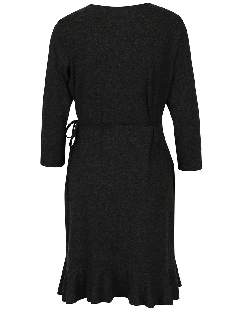 Tmavě šedé zavinovací šaty s volány VERO MODA Henna