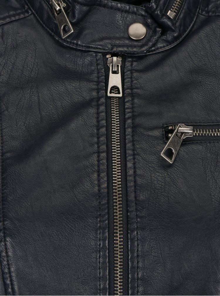 Tmavě modrá koženková bunda VERO MODA Elda
