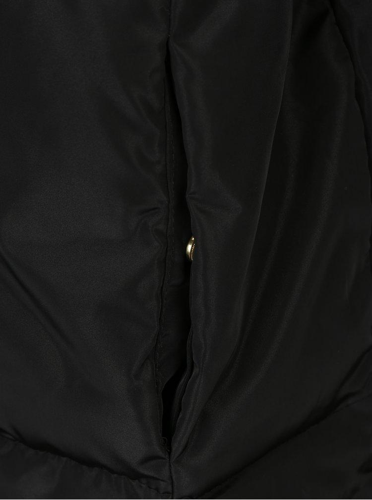 Geaca neagra lunga si matlasata cu guler inalt - VERO MODA Diva