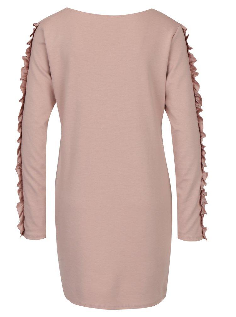 Starorůžové šaty s volánky na rukávech VILA Tinny
