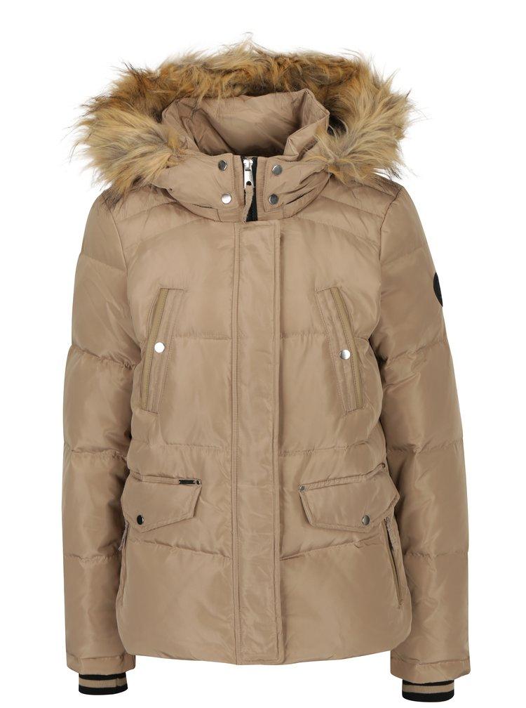 Béžová zimní prošívaná bunda s kapucí VERO MODA Fea