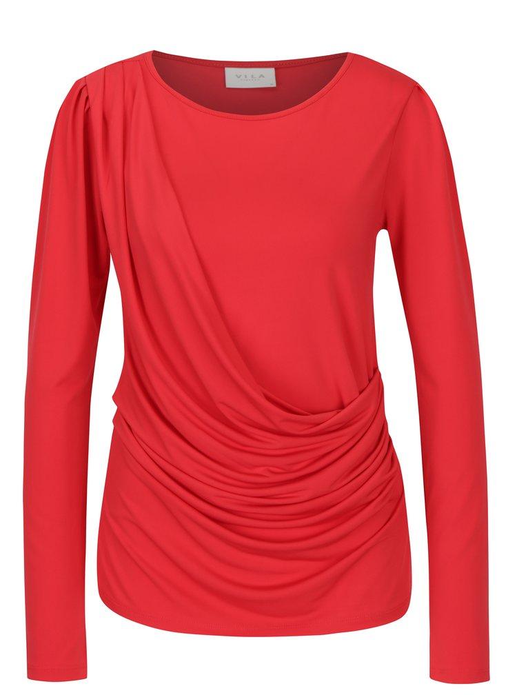 Červené tričko s řasením VILA Eltina