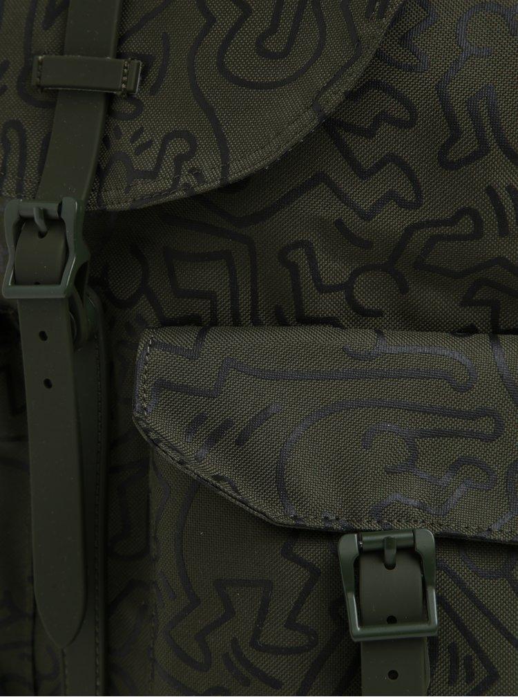 Rucsac verde inchis cu print abstract Herschel Dawson 20,5 l