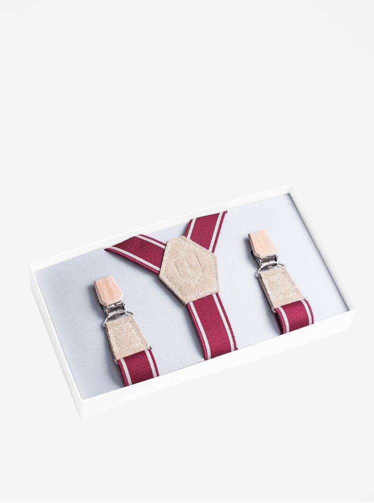 Červené pánské kšandy s koženými a dřevěnými detaily BeWooden Revio Suspenders