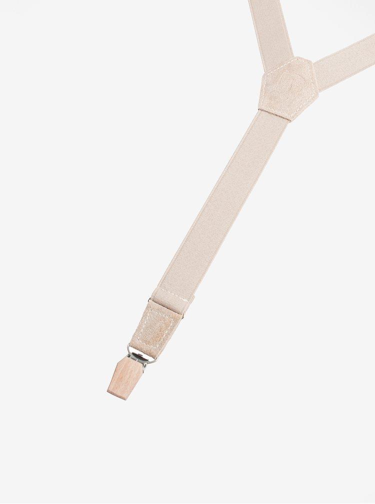 Béžové pánské kšandy s koženými a dřevěnými detaily BeWooden Illa Suspenders
