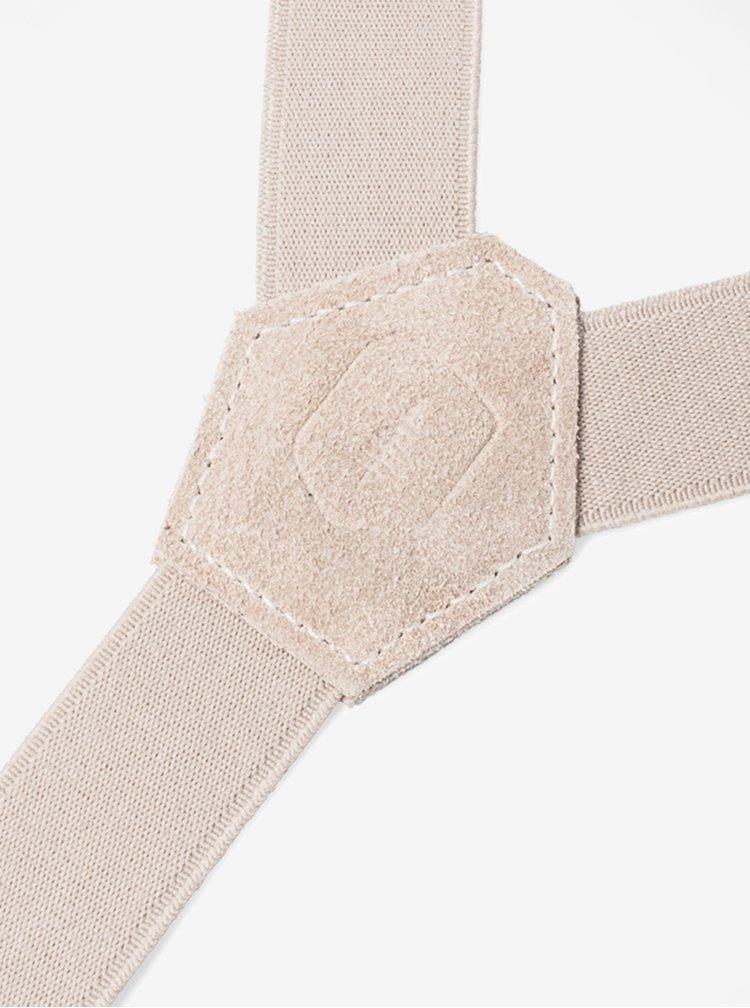 Bretele bej cu detalii din lemn si piele pentru barbati - BeWooden Illa Suspenders