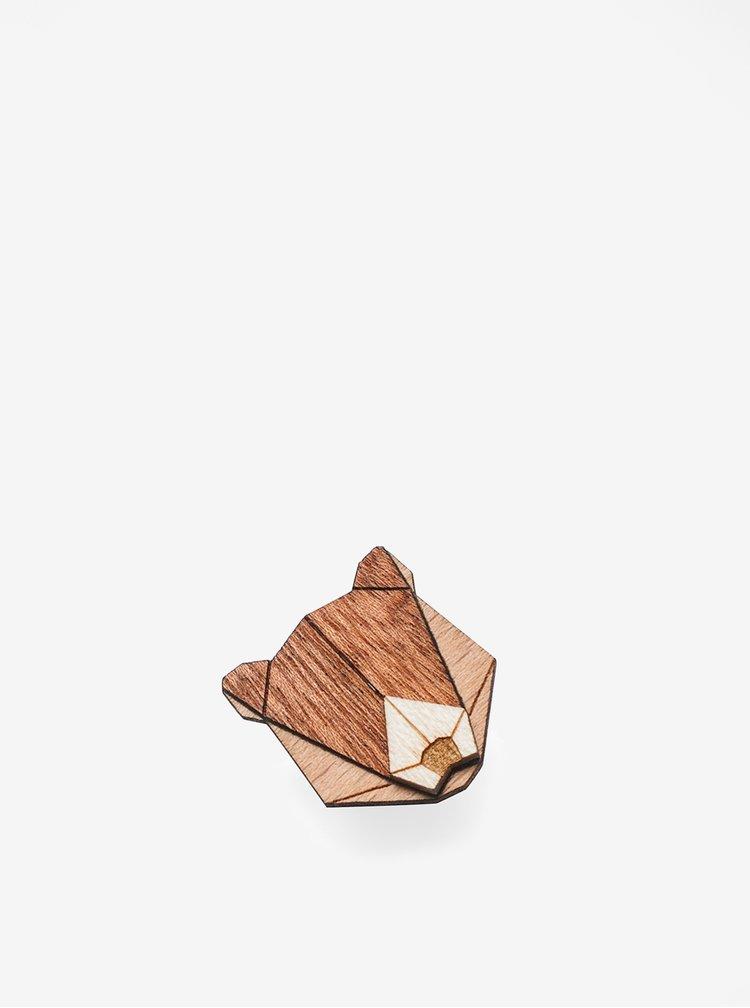 Dřevěná brož ve tvaru medvěda BeWooden Bear Brooch