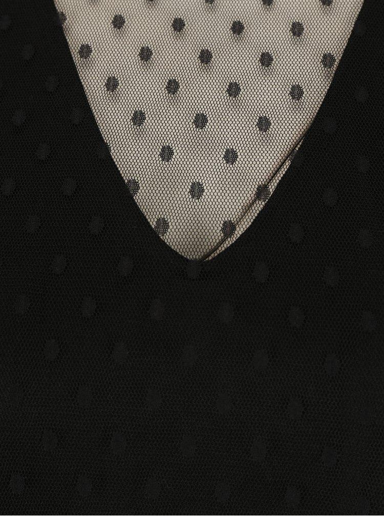 Černá puntíkovaná halenka se stojáčkem VERO MODA Almond