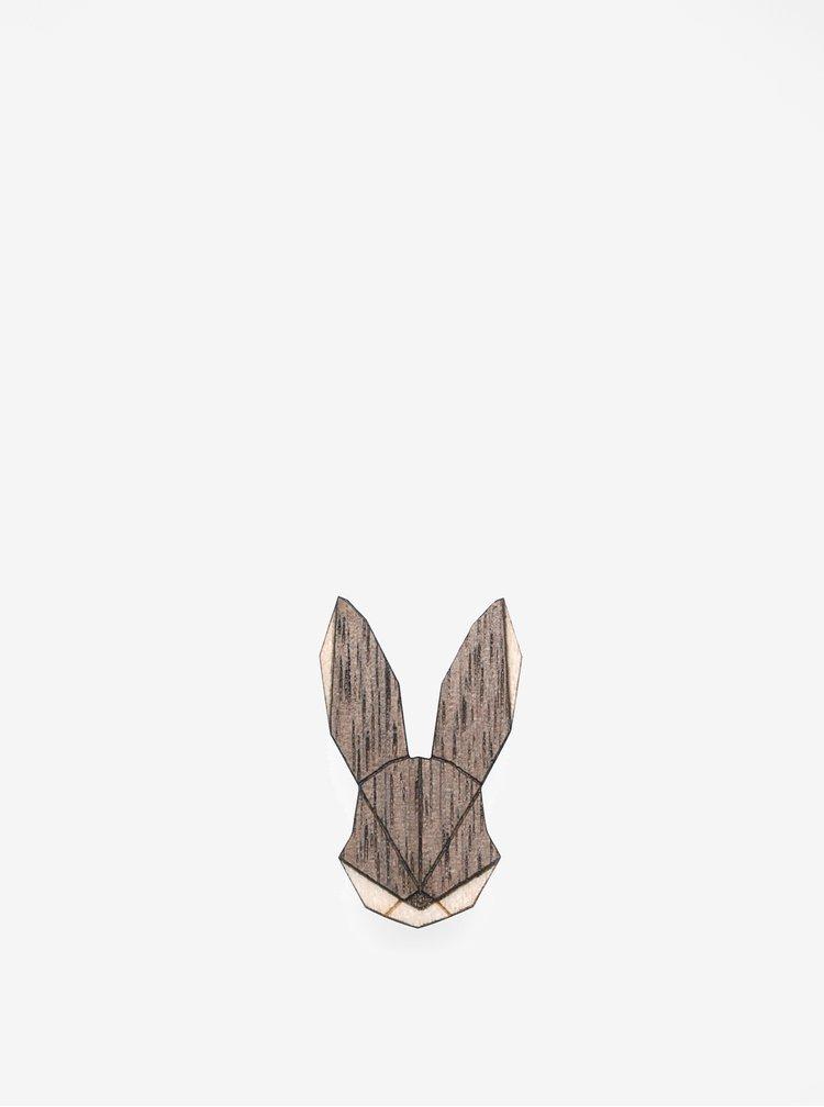 Brosa din lemn in forma de iepure - BeWooden  Hare Brooch