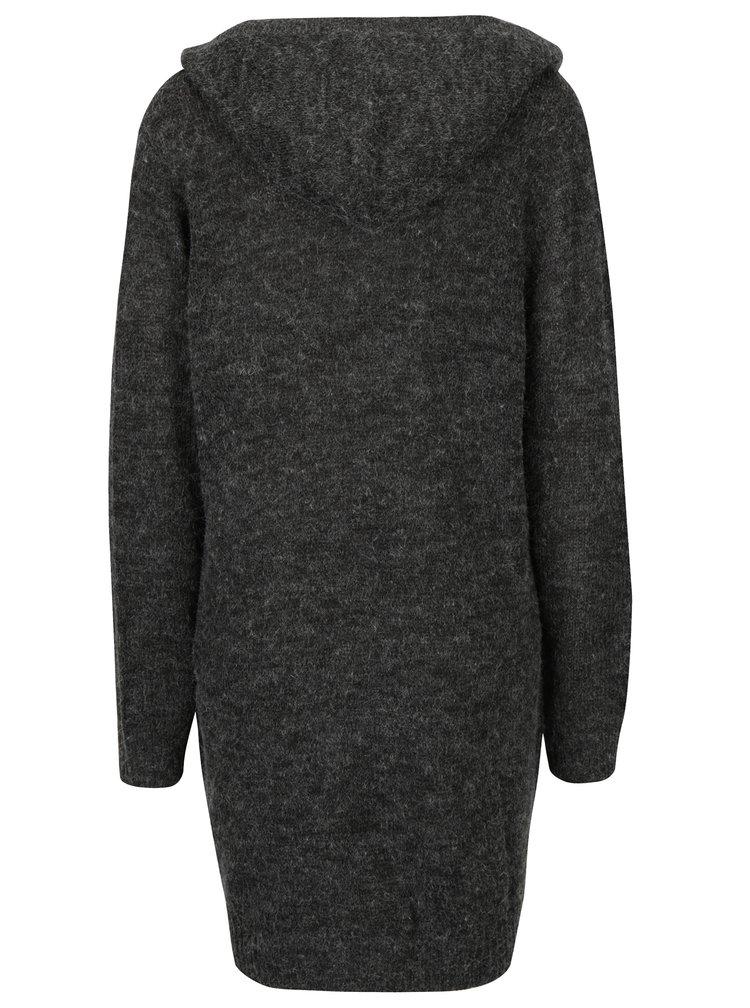 Tmavě šedý žíhaný dlouhý svetr s kapucí Jacqueline de Yong Aika