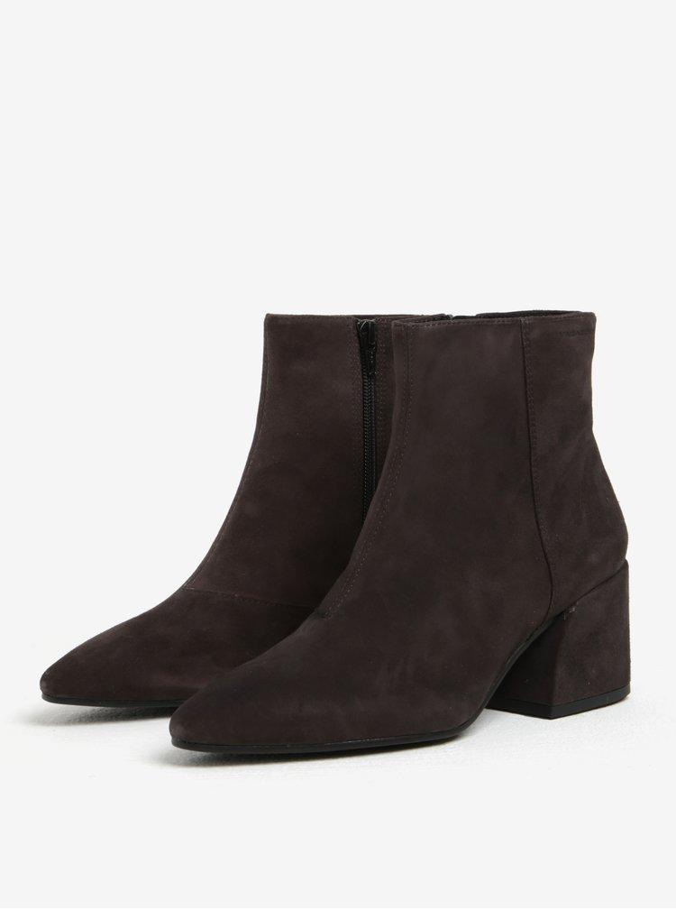 Tmavě šedé dámské semišové kotníkové boty Vagabond Olivia