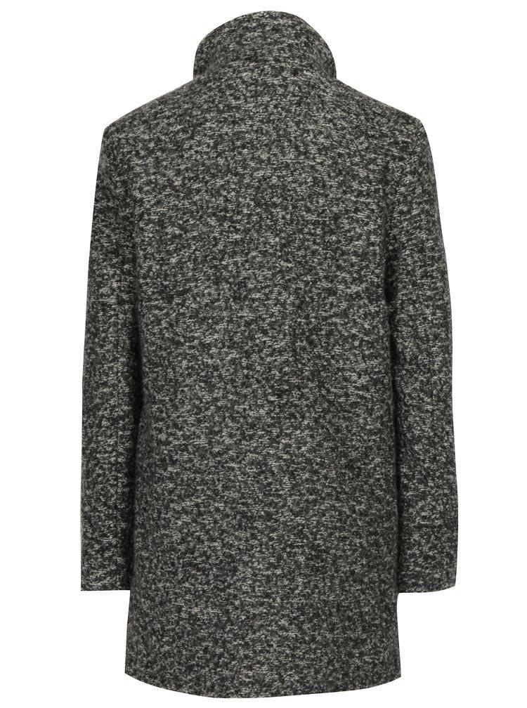 Tmavě šedý žíhaný kabát s příměsí vlny ONLY New Sophia