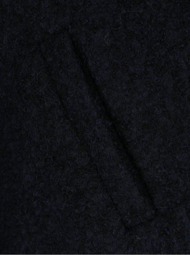 Tmavě modrý žíhaný kabát s příměsí vlny ONLY New Sophia