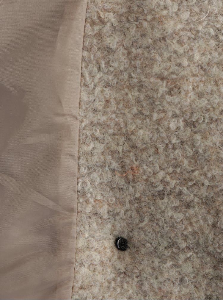 Krémový melírovaný kabát s prímesou vlny ONLY New Sophia