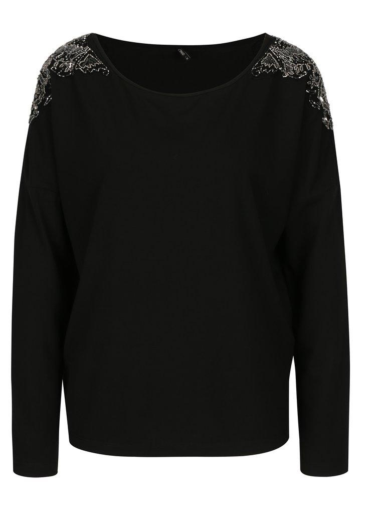 Černé tričko s korálkovou aplikací ONLY Mirabella