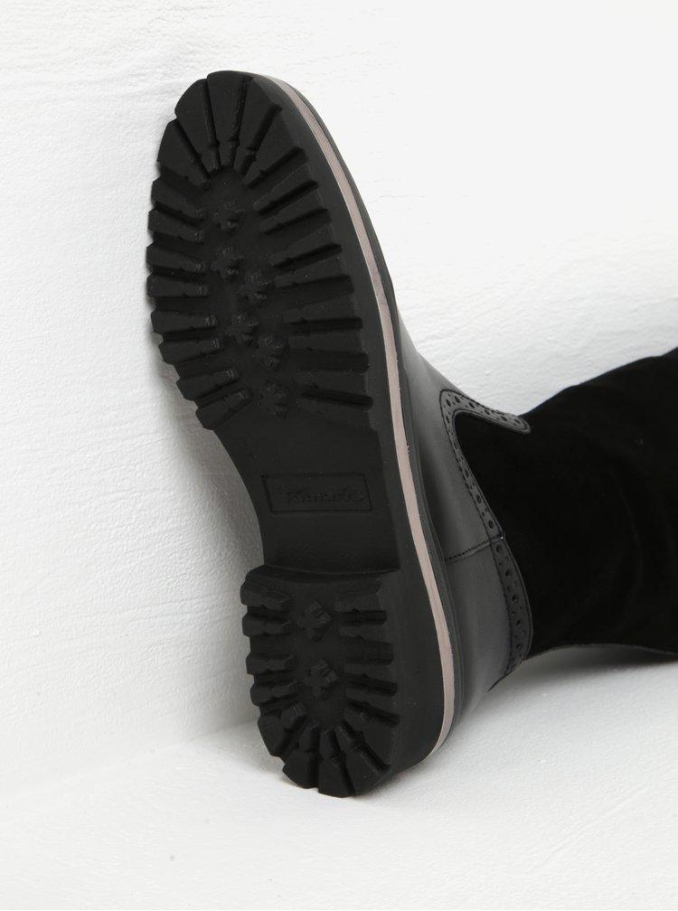 Černé kožené kozačky s detaily v semišové úpravě Tamaris