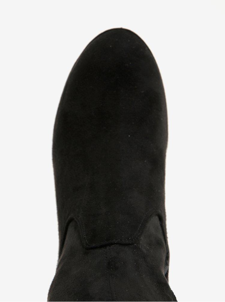 Cizme negre cu toc inalt si aspect de piele intoarsa Tamaris
