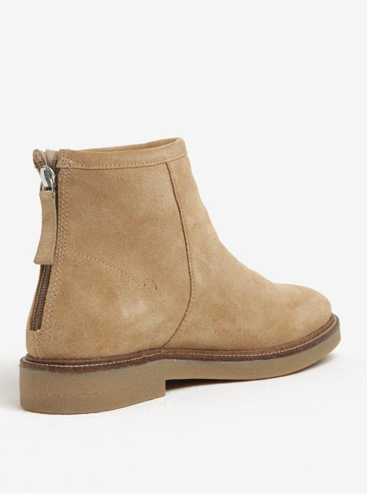 Béžové dámské semišové kotníkové boty Vagabond Christy