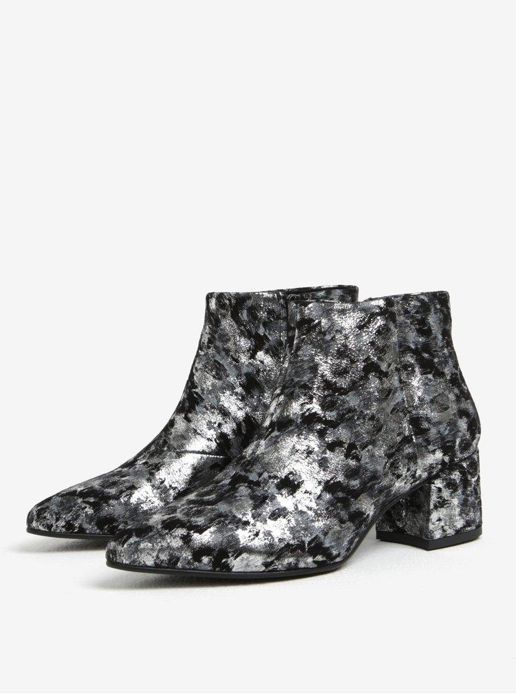 Černé-šedé dámské kožené vzorované kotníkové boty Vagabond Mya