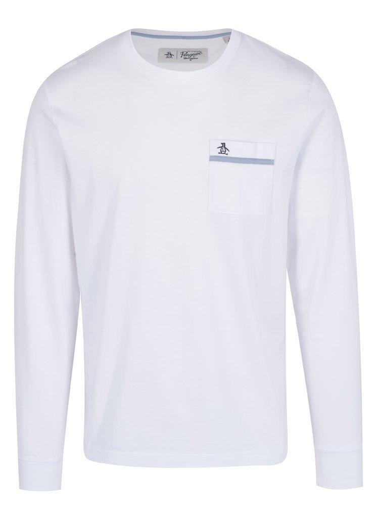 Bílé tričko s dlouhým rukávem a náprsní kapsou Original Penguin Tape Pocket