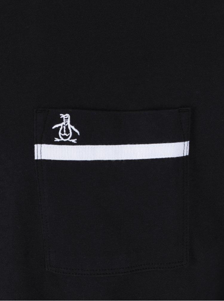 Černé tričko s dlouhým rukávem a náprsní kapsou Original Penguin Tape Pocket