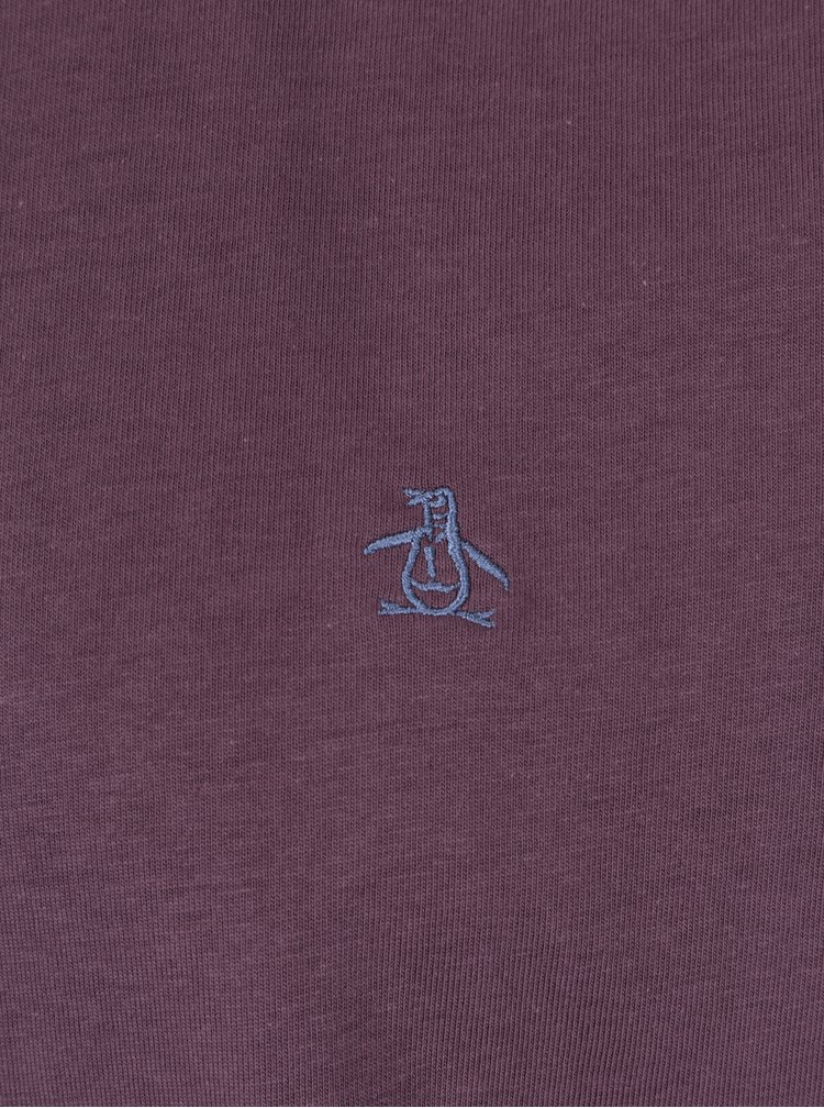 Tricou basic mov din bumbac cu logo brodat discret -  Original Penguin Pin Point Embroidery