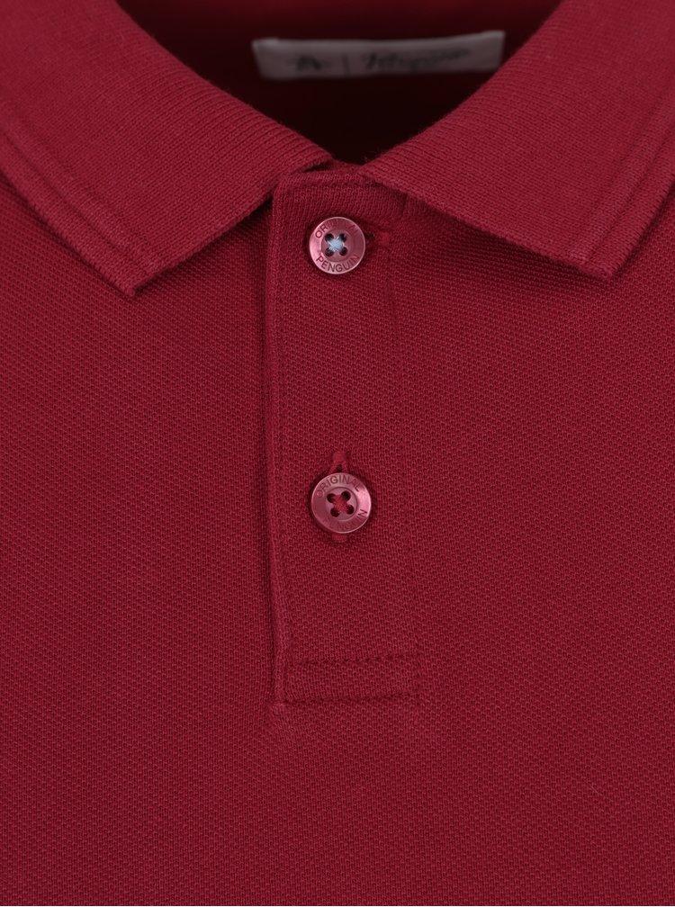 Tricou polo slim fit rosu -  Original Penguin Raised Rib