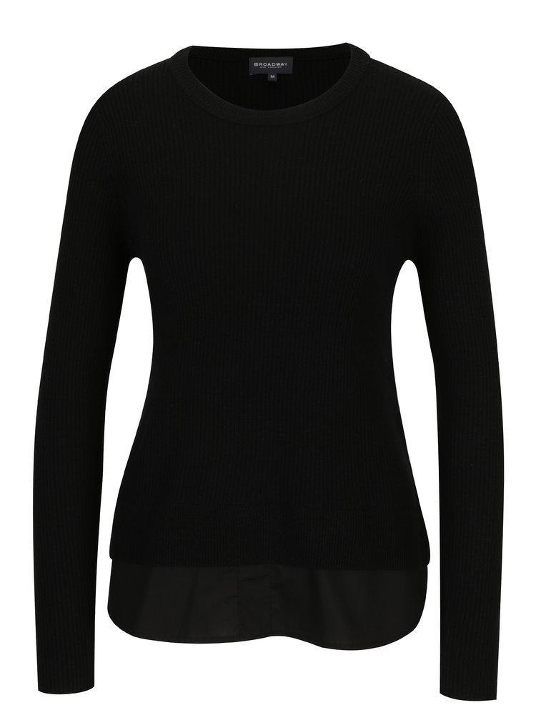 Černý dámský top s všitou košilí 2v1 Broadway Natalina