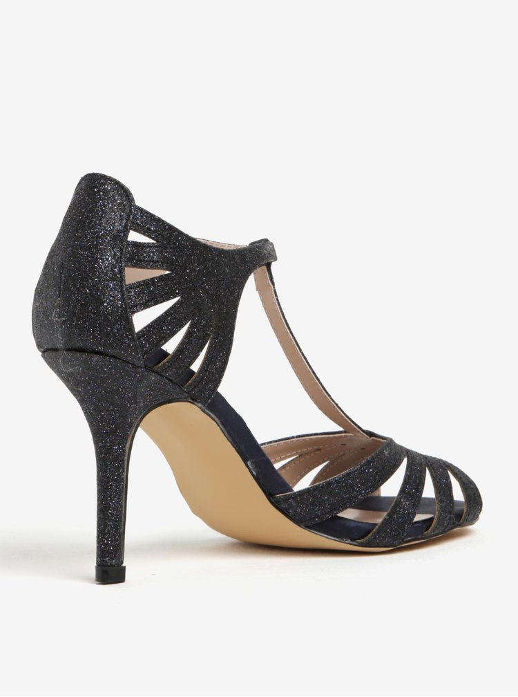 Tmavě modré třpytivé sandálky na jehlovém podpatku Dorothy Perkins