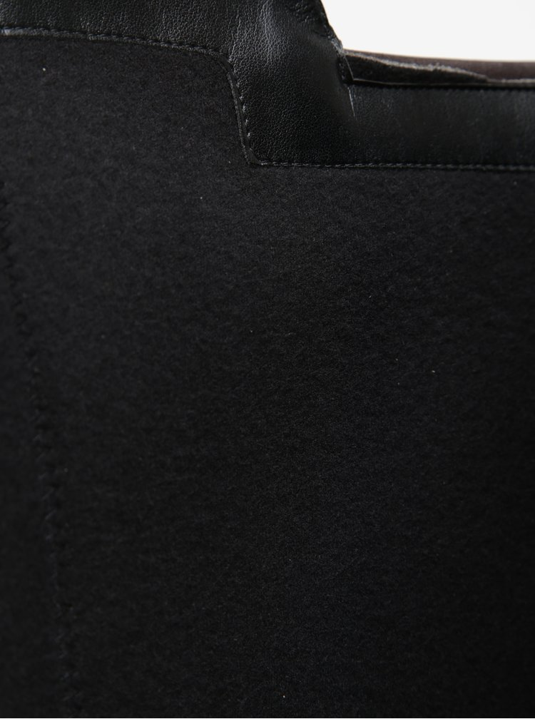 Tmavě hnědé kožené kozačky na vysokém podpatku Tamaris