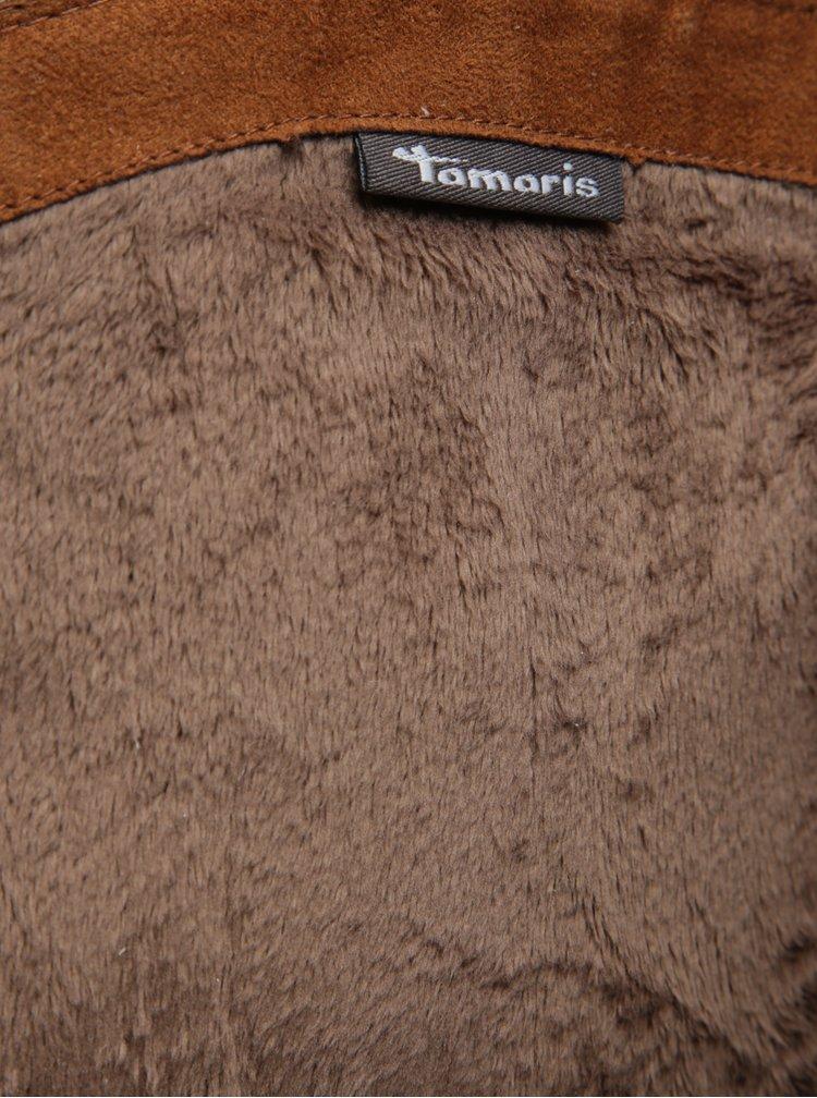 Cizme maro cu doua fermoare din piele naturala Tamaris