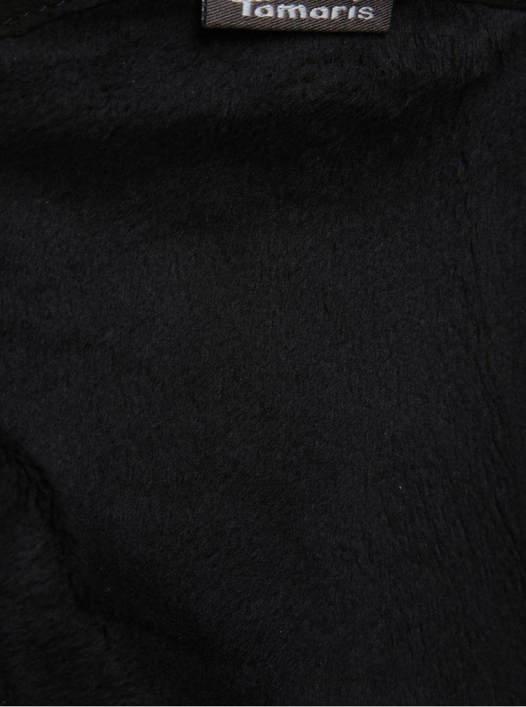 Černé kožené kozačky s dvěma zipy ve zlaté barvě Tamaris