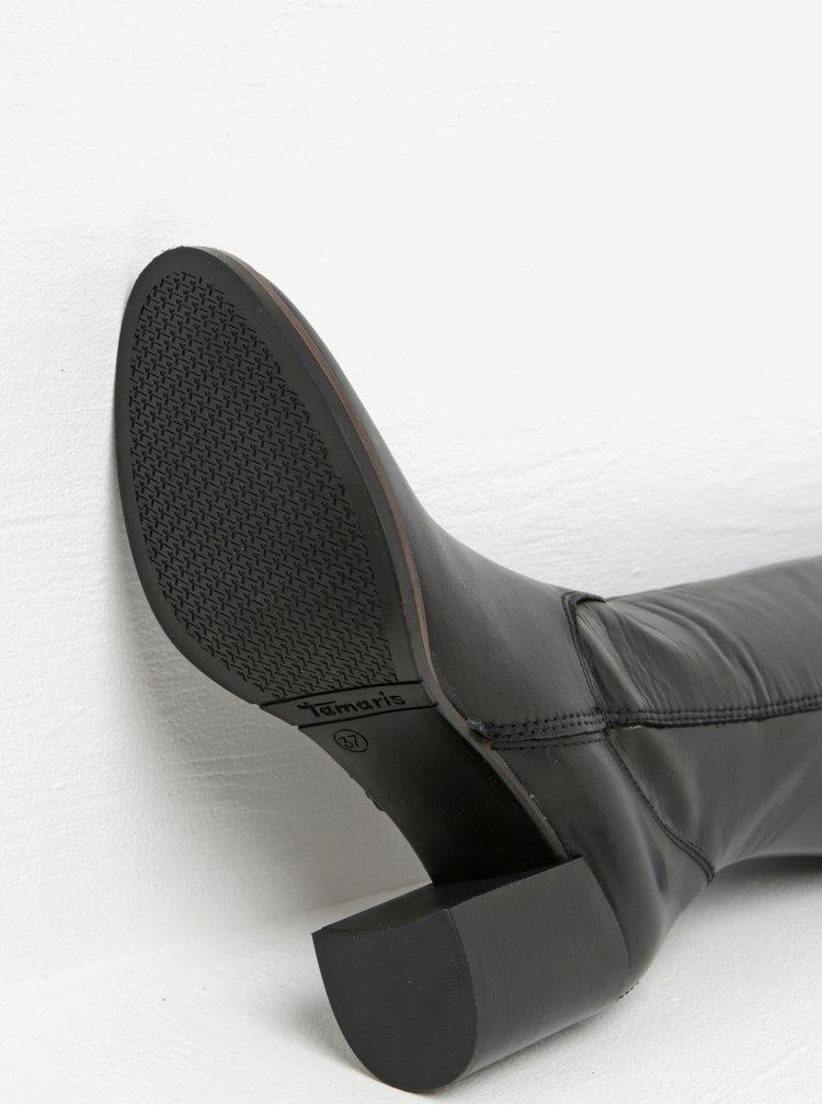 Černé vysoké kožené kozačky na podpatku Tamaris