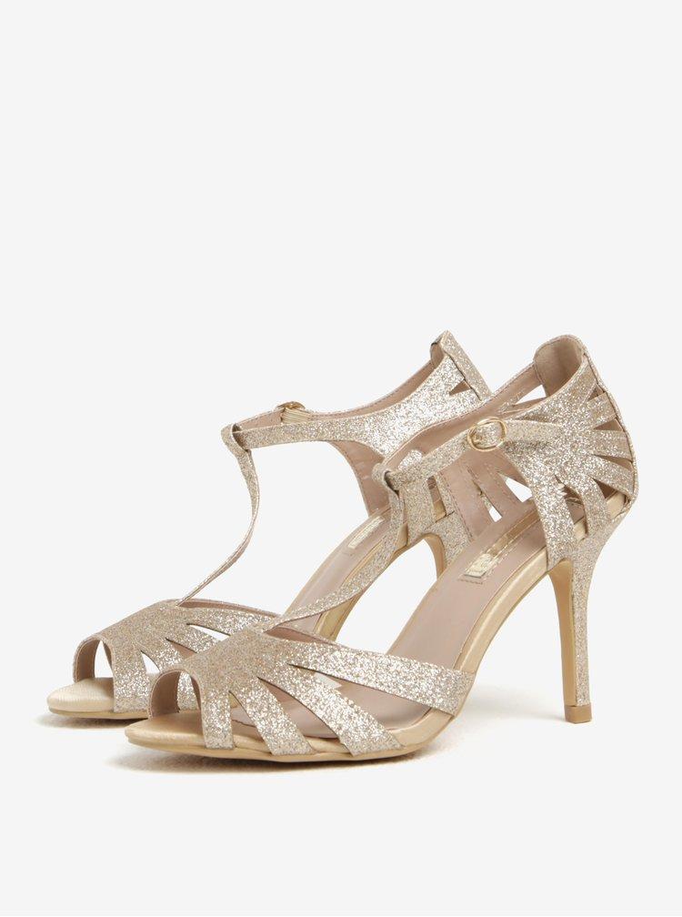Sandale aurii cu toc cui Dorothy Perkins