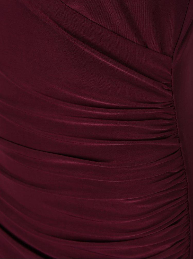Rochie vișinie AX Paris cu volane și mâneci lungi
