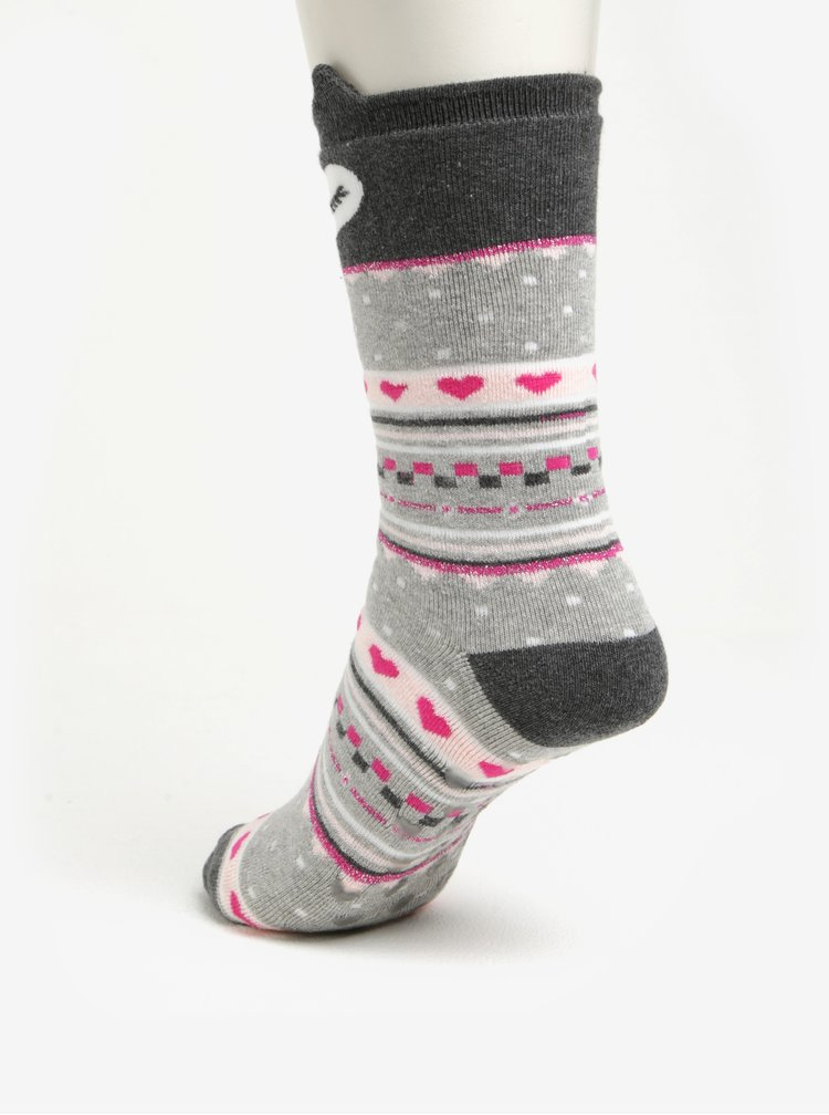 Sada dvou párů krémovo-růžových protiskluzových ponožek Dorothy Perkins