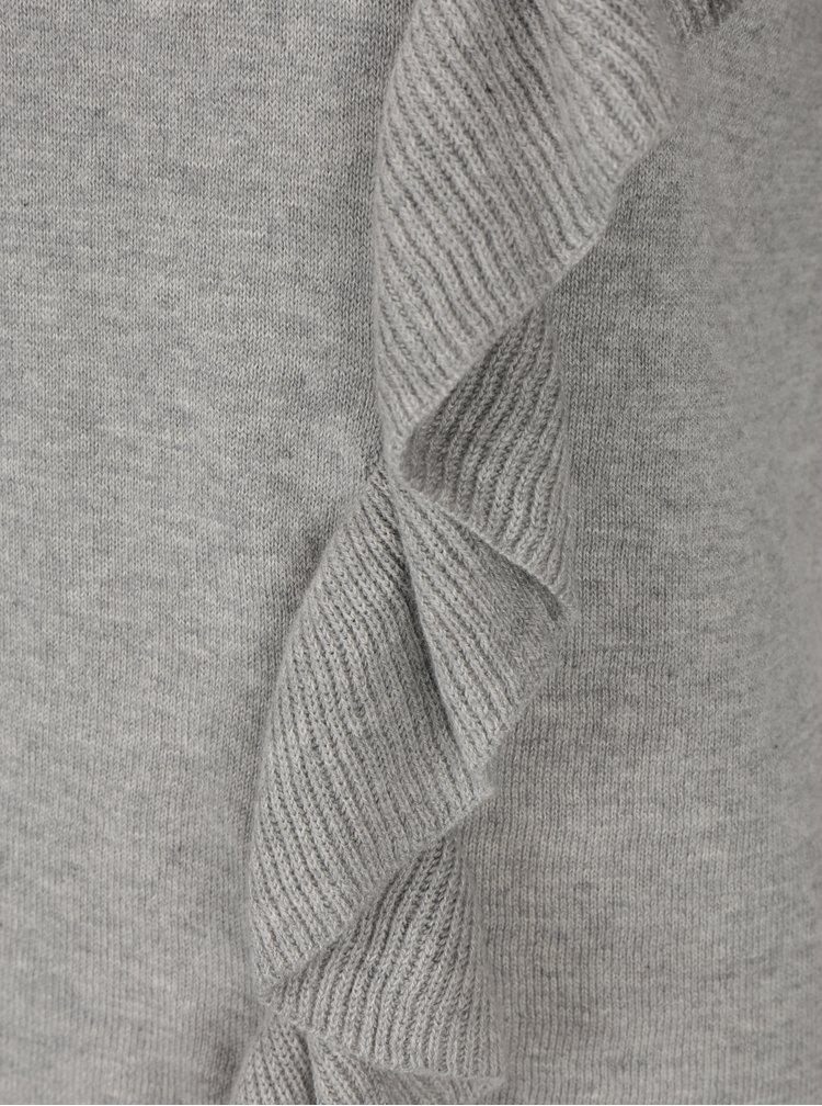 Bluza gri asimetrica cu volane - Broadway Olevia