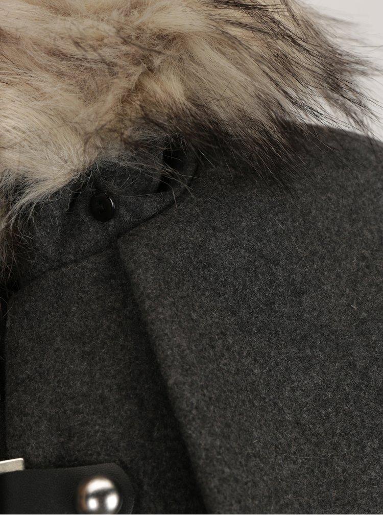 Tmavě šedý dámský krátký kabát s příměsí vlny Broadway Noomie